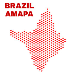 amapa state map - mosaic of heart hearts vector image