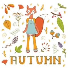 Autumn elegant card with cute fox character vector