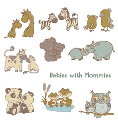 Babies with their mommies vector