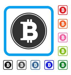 bitcoin coin framed icon vector image