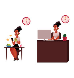 black african businesswoman having breakfast vector image