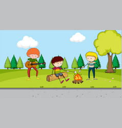 boys camping in park vector image