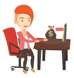 Businesswoman earning money from online business vector