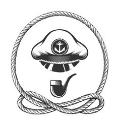 captain hat with smoking pipe nautical emblem vector image