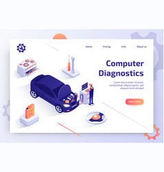 Car computer diagnostics service web site vector