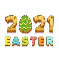 Card with inscription from easter cookies vector