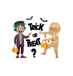cartoon children monster and mummy costume trick vector image