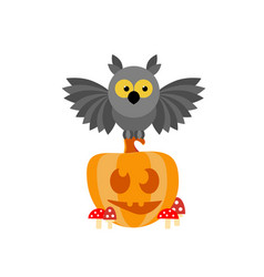 cartoon owl sitting on a smiling pumpkin in the vector image