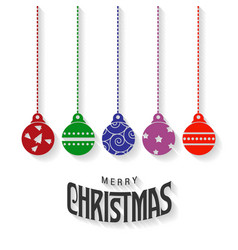 christmas typography with balls vector image
