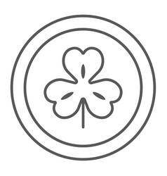 Coin with clover thin line icon st patrick s day vector