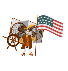 columbus day poster with columb holding flag vector image