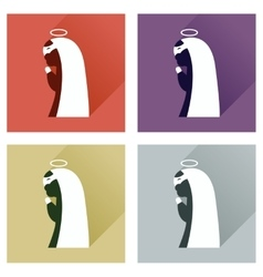 Concept of flat icons with long shadow father vector
