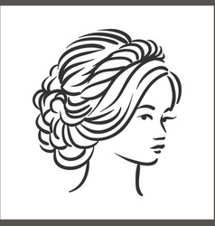 concept of woman hairstyle vector image