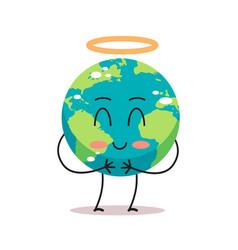 Cute earth character angel with nimbus cartoon vector