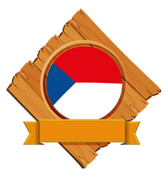 Czech republic flag on wooden board vector