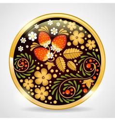 Decorative khokhloma golden pendant vector image