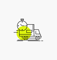 delivery time shipping transport truck line icon vector image