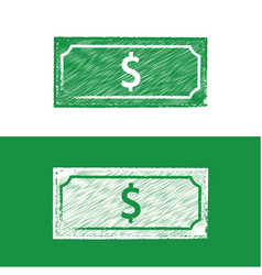 dolar note chalkboard icon chalkboard style vector image