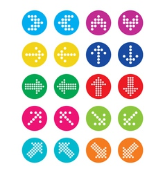 Dotted colorful arrows round icons set isolated vector