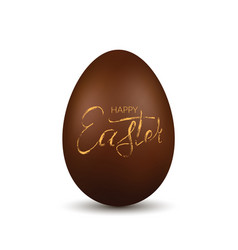 easter egg 3d chocolate brown egg gold hand vector image