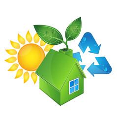 Eco house and sun vector