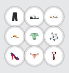flat icon garment set of beach sandal cravat vector image