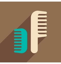 Flat icon with long shadow women combs vector