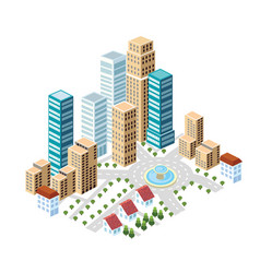 Flat isometric style city vector