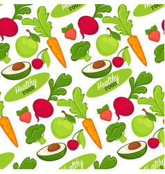 food organic and healthy fruits and vegetables vector image