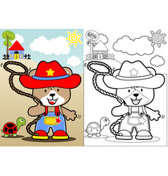 Funny cowboy cartoon vector