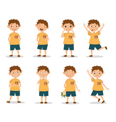 Funny kid boy emotion expressions vector