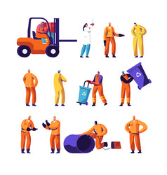 garbage recycling and metallurgy factory workers vector image