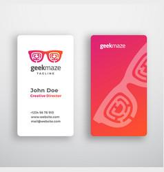 Geek maze abstract business card template vector
