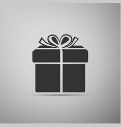 gift box icon on grey background vector image