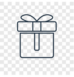 Gift concept linear icon isolated on transparent vector