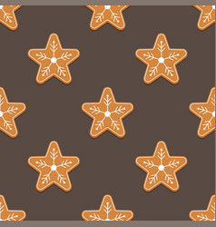 gingerbread star christmas cookies seamless vector image