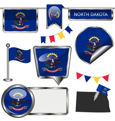Glossy icons with North Dakotan flag vector image
