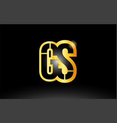 gold black alphabet letter gs g s logo vector image