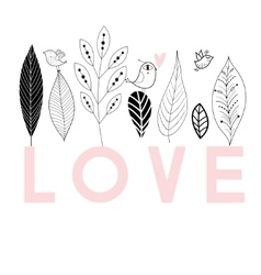 Graphic floral card with bird in love vector image