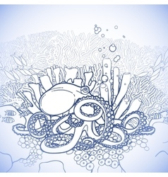 Graphic octopus and coral reef vector