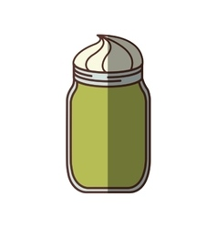 Green glass jar with cream dessert shadow vector