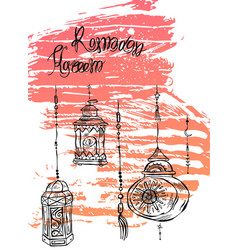hand drawn ramadan kareem and mosque greeting card vector image