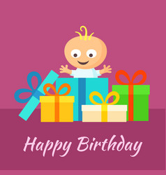 Happy birthday card with smiling little baby and vector