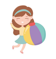 Happy childrens day little girl with ball toy vector