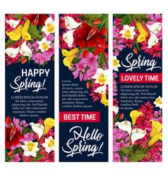 Hello spring floral banner for springtime holiday vector