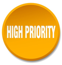 High priority orange round flat isolated push vector