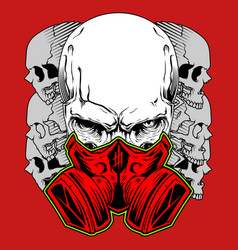 human skull in gas mask hand drawn toxicity vector image