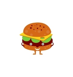 Humanized Burger Funny vector image