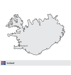 Iceland map with capital city reykjavik vector
