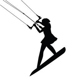 Kitesurfing girl in dress jumping silhouette vector